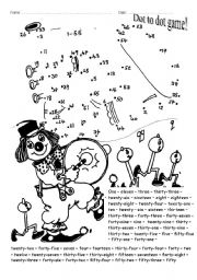 English Worksheet: Dot to dot game! (numbers up to 55)