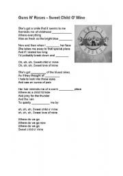 English Worksheets: Guns N´ Roses - Sweet Child O´ Mine