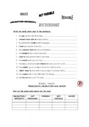 English Worksheet: MODAL VERBS OF PERMISSION, OBLIGATION and ADVICE