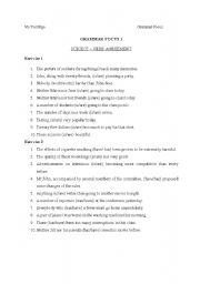 English Worksheet: Subject and Verb Agreement exercise