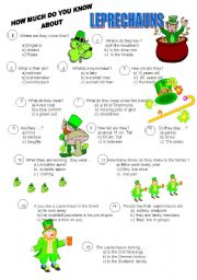 English Worksheet: LEPRECHAUNS