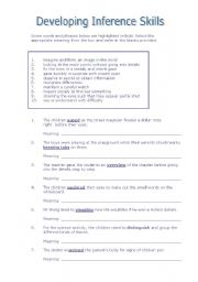 English Worksheets: Developing Inference Skills