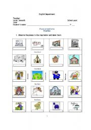 english worksheets places around town. Black Bedroom Furniture Sets. Home Design Ideas