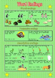 English Worksheets: Word Endings