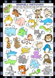 English Worksheet: ANIMALS MATCHING