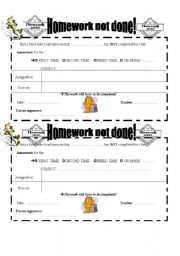 English Worksheet: HOMEWORK NOT DONE!