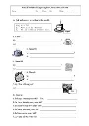English Worksheets: How old is he?