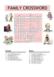 English Worksheet: A FAMILY CROSSWORD
