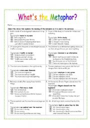 Metaphor Worksheets With Answers