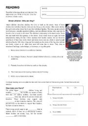 English Worksheet: Reading Comprehension: STREET CHILDREN