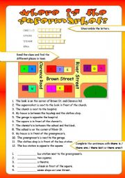 English Worksheet: PLACES IN TOWN/PREPOSITIONS OF PLACE