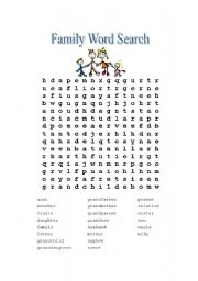 English Worksheet: Family Word Search