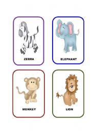 English Worksheets: Jungle animals-Flashcards