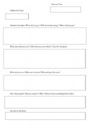 English Worksheets: disry writing frame