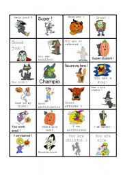 English Worksheet: Halloween stickers with positive message