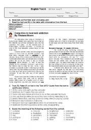 English Worksheet: Test  A- Holiday Camp for Internet Addicts