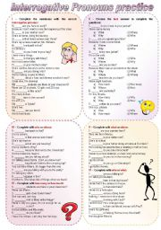 Interrogative Pronouns Practice (keys on the second page - fully editable)