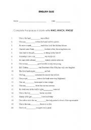 English Worksheets: WHO - WHICH - WHOSE