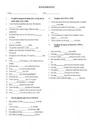 English Worksheet: QUANTIFIERS - WHO VS WHICH - ONE VS ONES, TOO VS ENOUGH