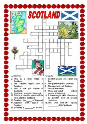 English Worksheet: Scotland - crossword