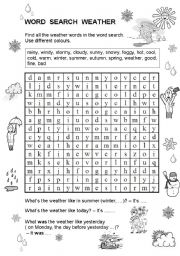 English Worksheet: Word Search Weather