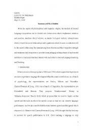 English Worksheets: SLA Models Paer