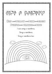 English Worksheet: Sing a rainbow