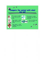 English worksheet: What do you eat? / What´s the animal?