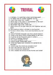 English Worksheets: TRIVIAL