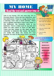 English Worksheet: PARTS OF THE HOUSE. There is /are - Prepositions of place.