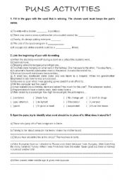 English Worksheet: Puns Activities - Worksheet