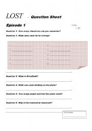 English Worksheets: Lost - Episode 1 - Question Sheet