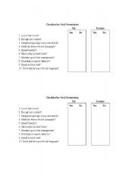 English Worksheet: Oral presentation checklist