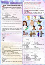 English Worksheets: Wish clauses (fully editable - keys included)