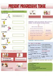 English Worksheet: PRESENT PROGRESSIVE TENSE