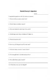 English Worksheets: Horrid Henry�s Injection Day