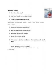 English Worksheet: Whale Rider #1 - While Viewing