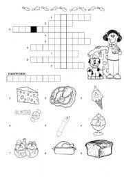 English Worksheet: food- crossword