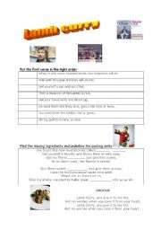 English Worksheet: Lamb curry song (give it to me hot) performed by chef Jamie Oliver