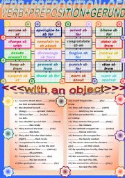 English Worksheets: VERB+PREPOSITION+GERUND (with an object)