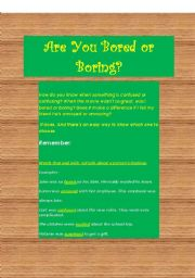 English Worksheets: Are you Bored or Boring