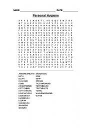 English Worksheet: Personal Hygiene Wordsearch