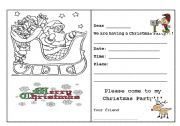 English Worksheet: Writing - Christmas Card