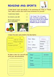 English Worksheet: READING AND SPORTS