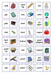 English Worksheets: Let�s play dominoes! Set 2; School
