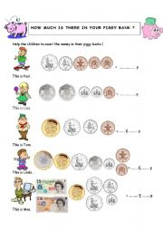 English Worksheet: How much is there in my piggy bank ?