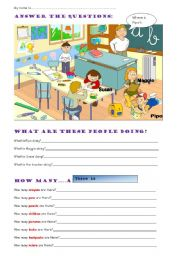 English Worksheet: SCHOOL THINGS - THERE IS THERE ARE