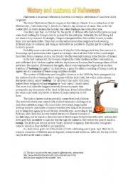 English Worksheet: History and customs of Halloween