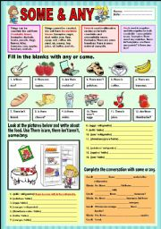 English Worksheet: Some &  Any