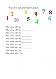 English worksheet: what colour are the numbers?